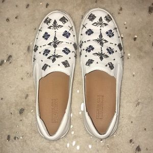 White Slip On Gem Sneakers